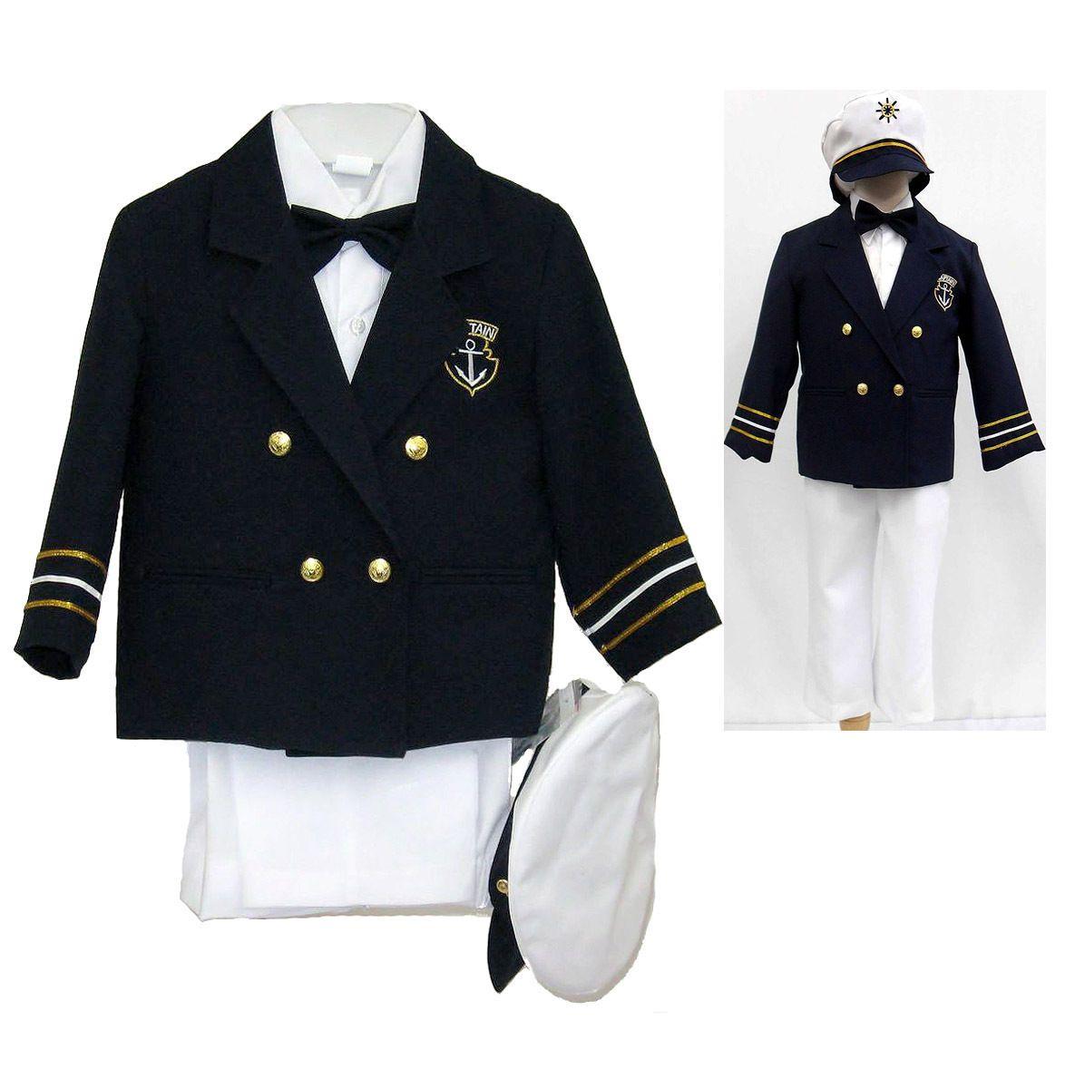 Navy baby boy toddler costume nautical captain sailor suit hat white