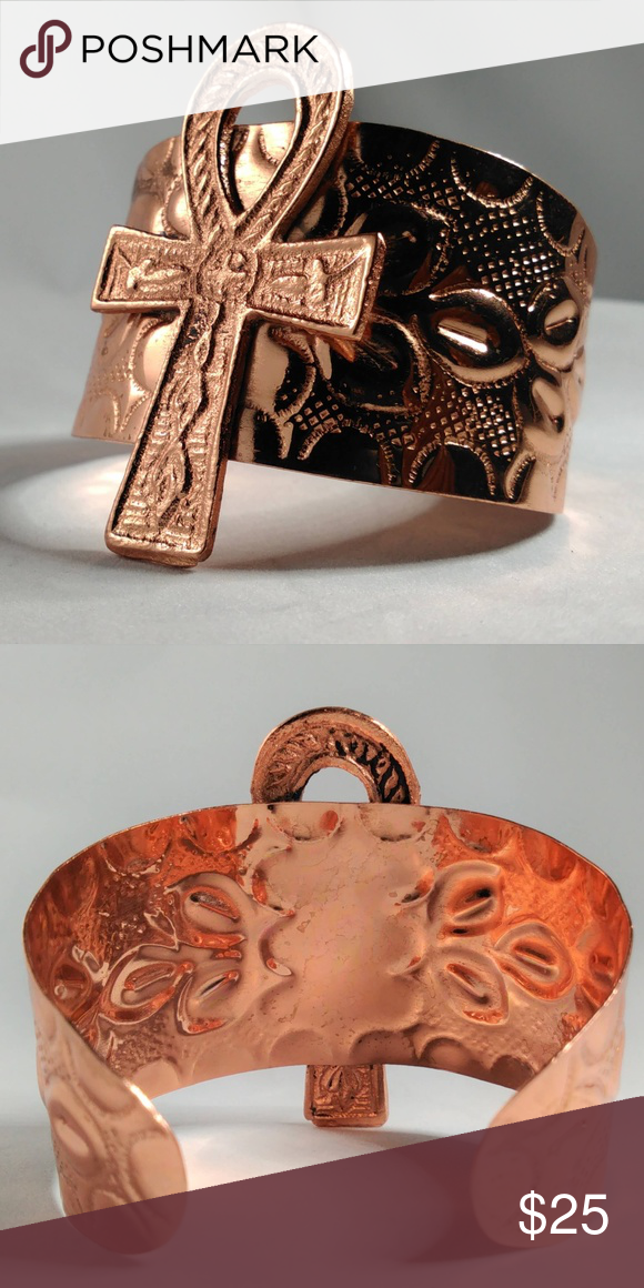 New Ankh Cuff In Copper Artisan Ankh Cuff Made In India From Sheets Of Hammered Copper Lightweight Stylish An Fashion Bracelets Cuff Womens Jewelry Bracelets