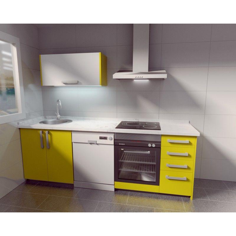 Muebles de cocina en color amarillo soft y blanco se for Muebles de cocina amarillos