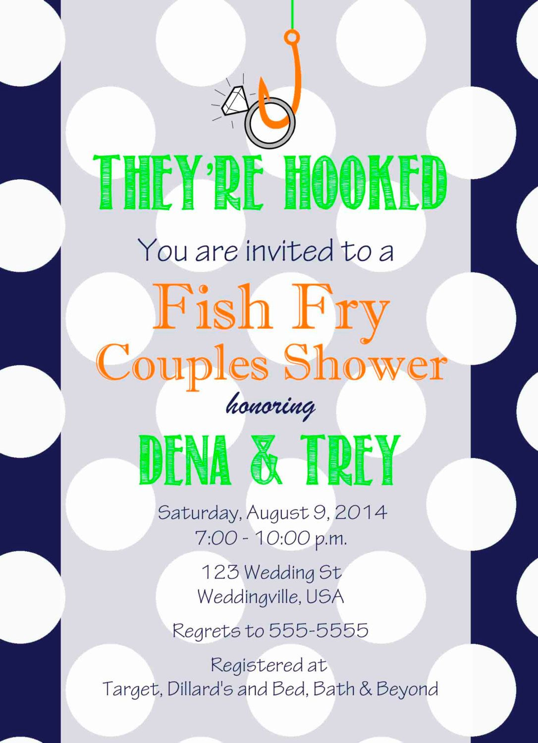 They\'re Hooked Couples Shower Invitation , Fish Fry Invitation Navy ...
