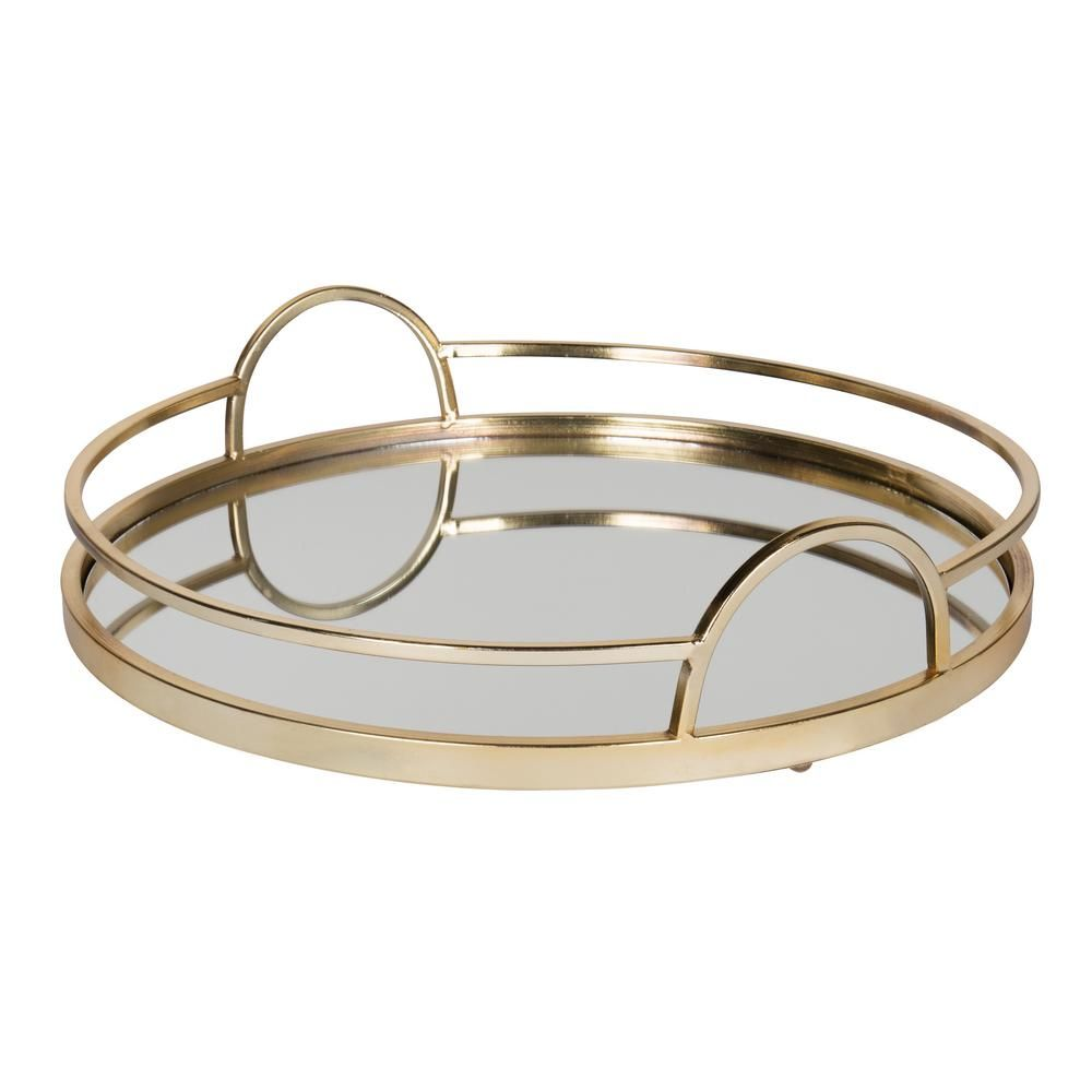 Kate And Laurel Naples Gold Decorative Tray Mirror Tray Tray Metal Mirror
