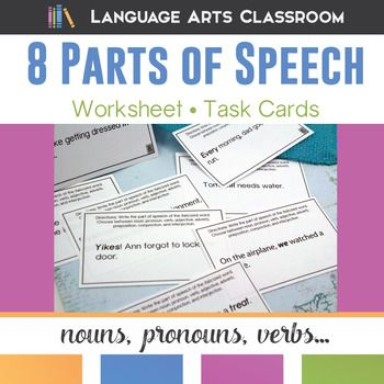8 Parts Of Speech Task Cards Adverbs Prepositions And Worksheets