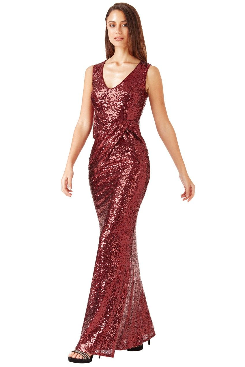 V Neck Sequin Maxi Dress with Bow Detail - Wine