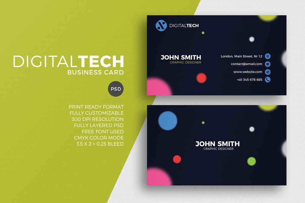 Digital Tech Business Card Template PSD