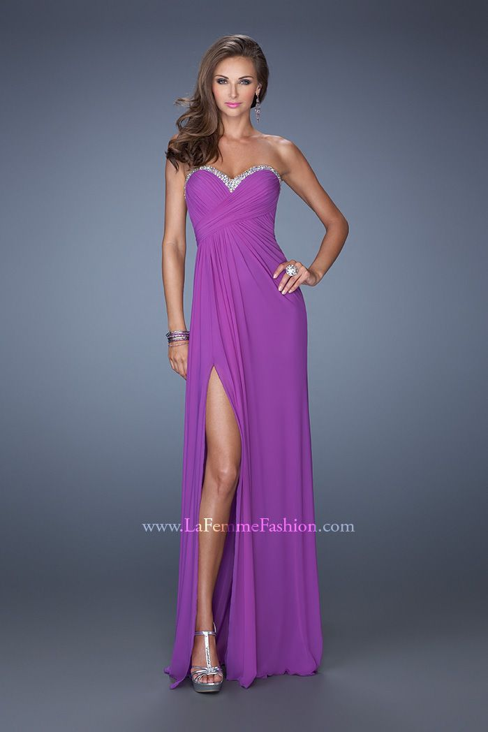 La Femme 19731- strapless long prom dress- ruched on bodice of ...