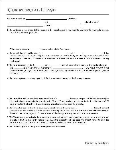 Commercial Lease Agreement Free Printable Documents Lease Agreement Free Printable Rental Agreement Templates Lease Agreement