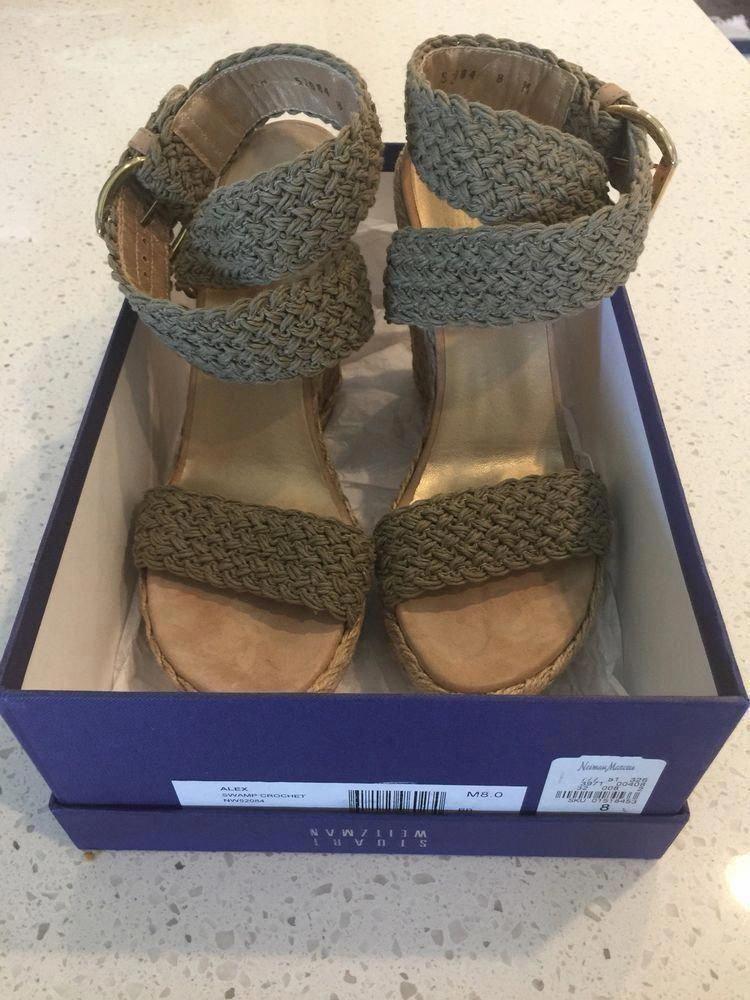 2cb904030 Stuart Weitzman Alex Swamp Khaki Crochet Espadrilles Wedges Sandals 8 $385  NEW #StuartWeitzman