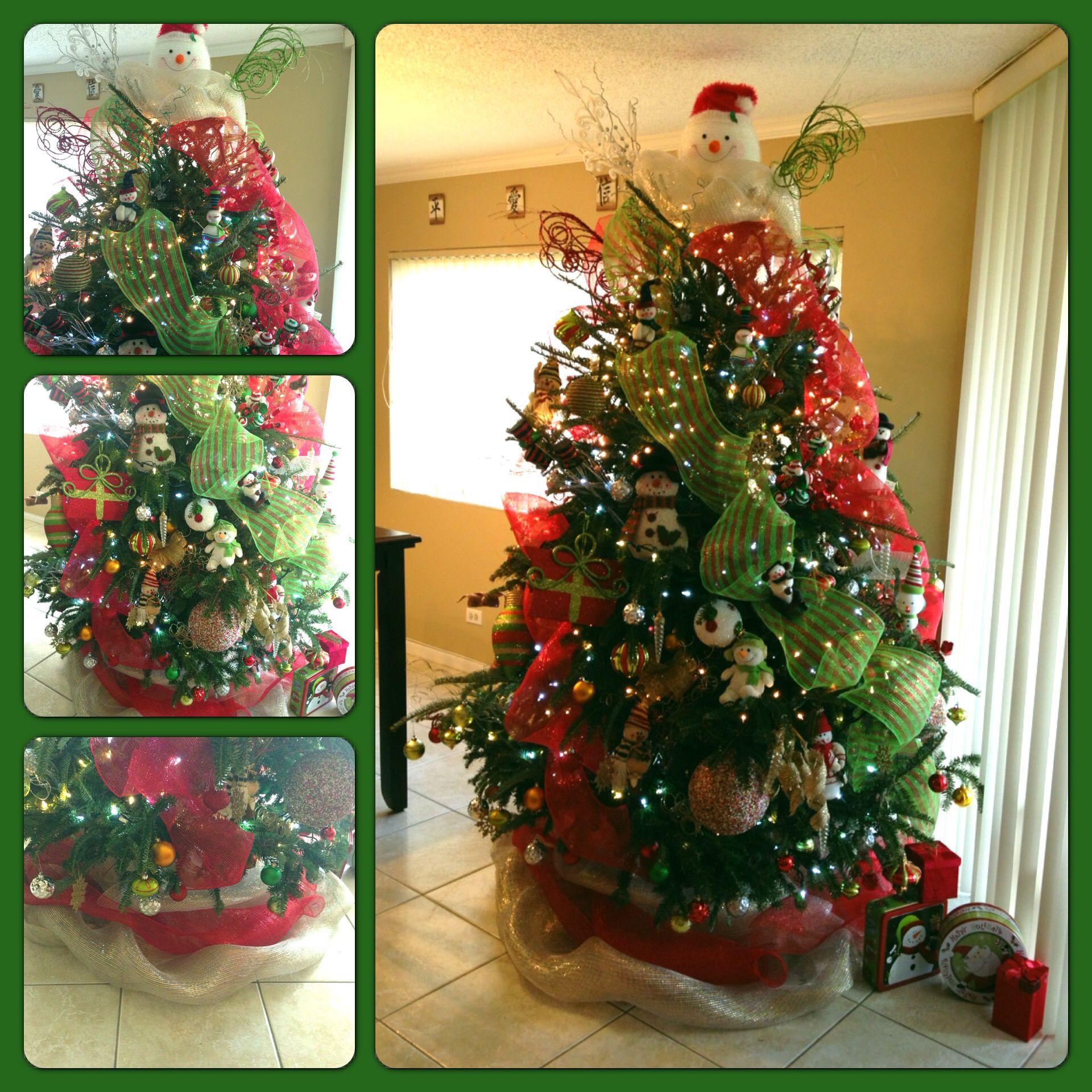 Snowman Christmas Tree Mesh Ribbon Mesh Tree Skirt