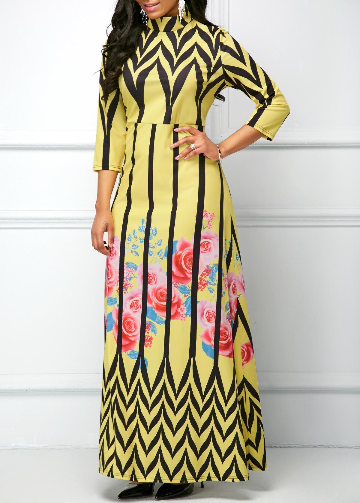 High neck three quarter sleeve printed maxi dress womenus apparel