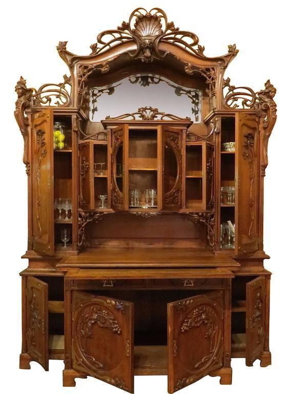 Impressive art nouveau austrian server or back bar for Decoracion art nouveau