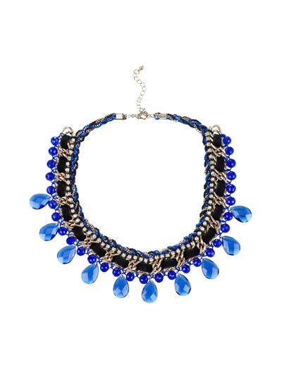 Collar azul de cadena de strass.
