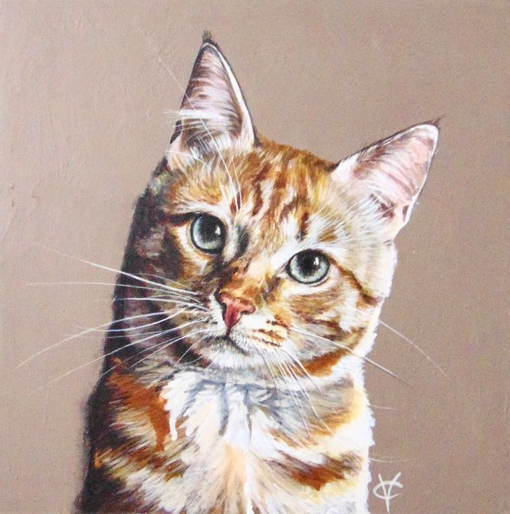 "Buy Cat painting ""Ginger Spice"", Mixedmedia painting by"