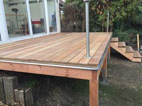 Fabulous Erhöhte Terrasse aus Bangkirai mit Holztreppe und Außentreppe WF24