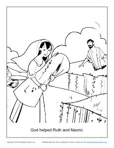 God Helped Ruth And Naomi Coloring Page Ruth Bible Bible