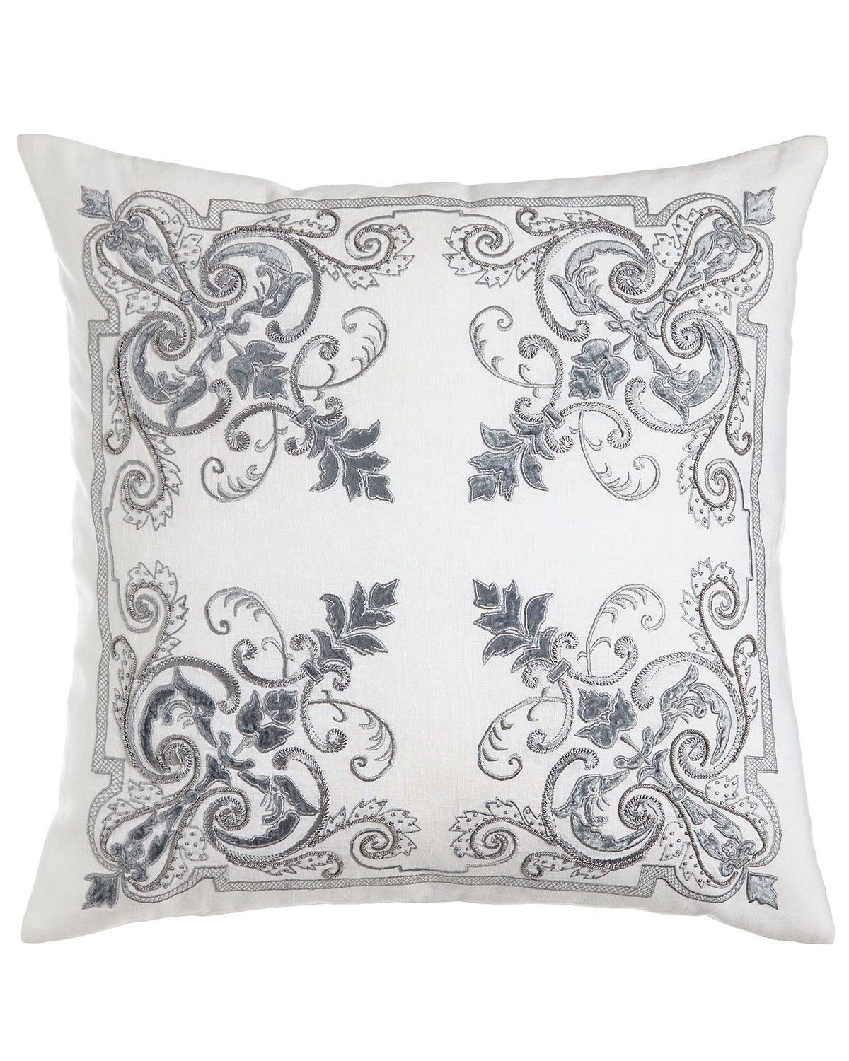 """Troyes Embroidered Accent Pillow, 17""""Sq 