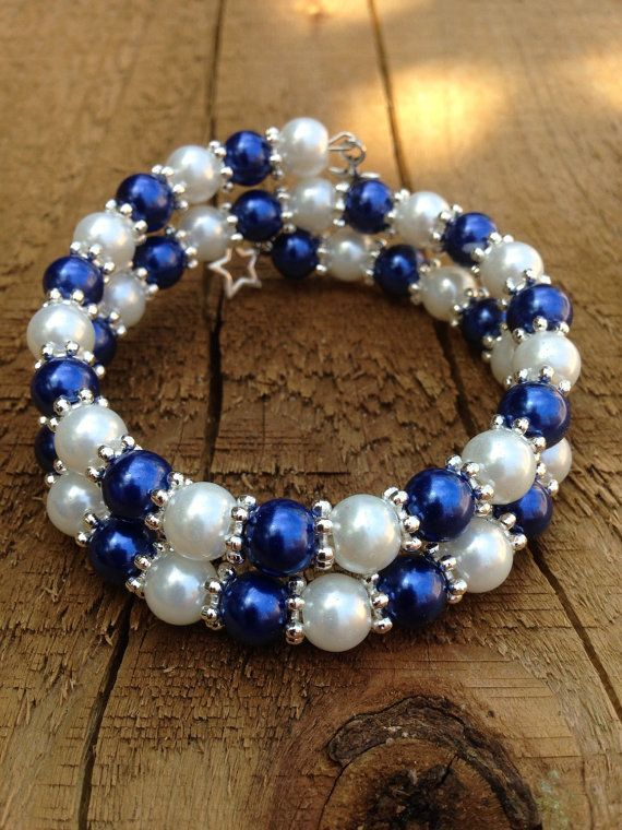 Blue And White Glass Pearl Bead Memory Wire Bracelet By