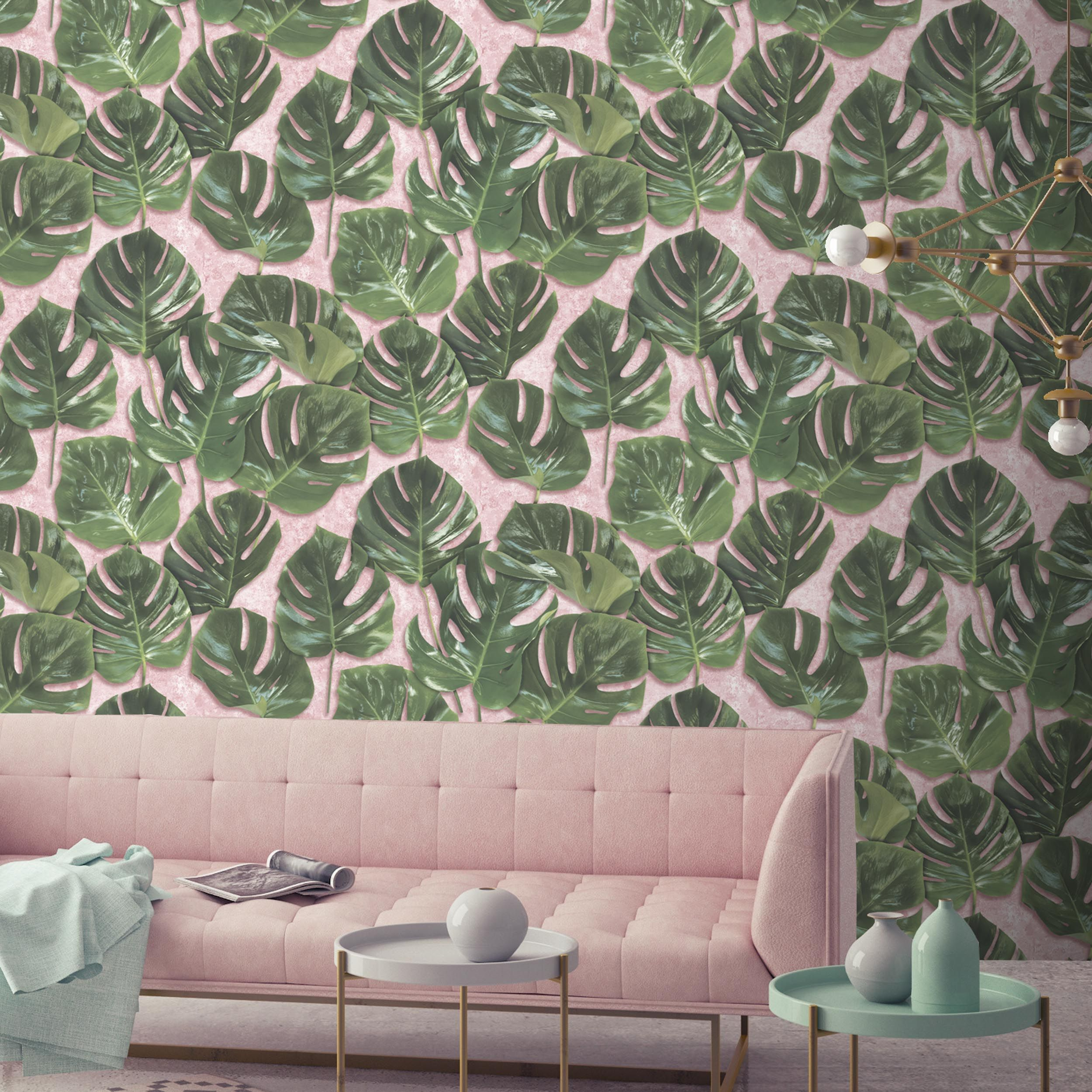 Monstera wallpaper WM-032 Monstera Leaf Print Wallpaper on Pink ...