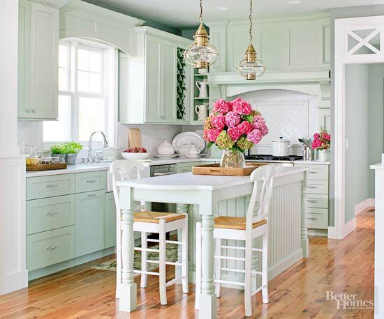 Cottage Kitchen Designs | Tonos verdes, Verde menta y Cocinas