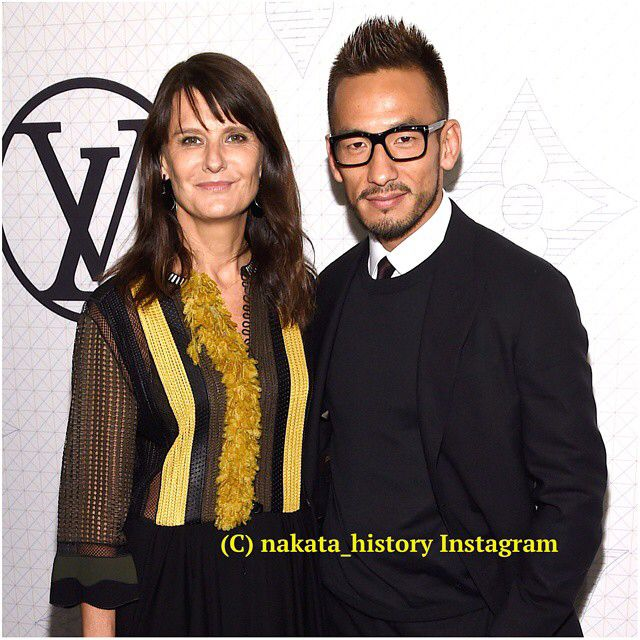 Senior fashion editor at W Magazine Marie-Amelie Suave and soccer player Hidetoshi Nakata attend Louis Vuitton Monogram celebration at Museum of Modern Art on November 7, 2014 in New York City. #中田英寿 #nakata #hidetoshinakata#louisvuitton #nyc #newyork