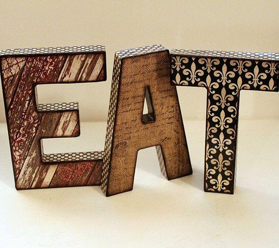 Nice EAT Letters 8 Inch Decoupage Kitchen Decor
