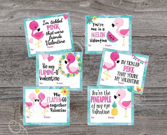 Kids Valentine Cards Flamingo Valentine Cards Printable