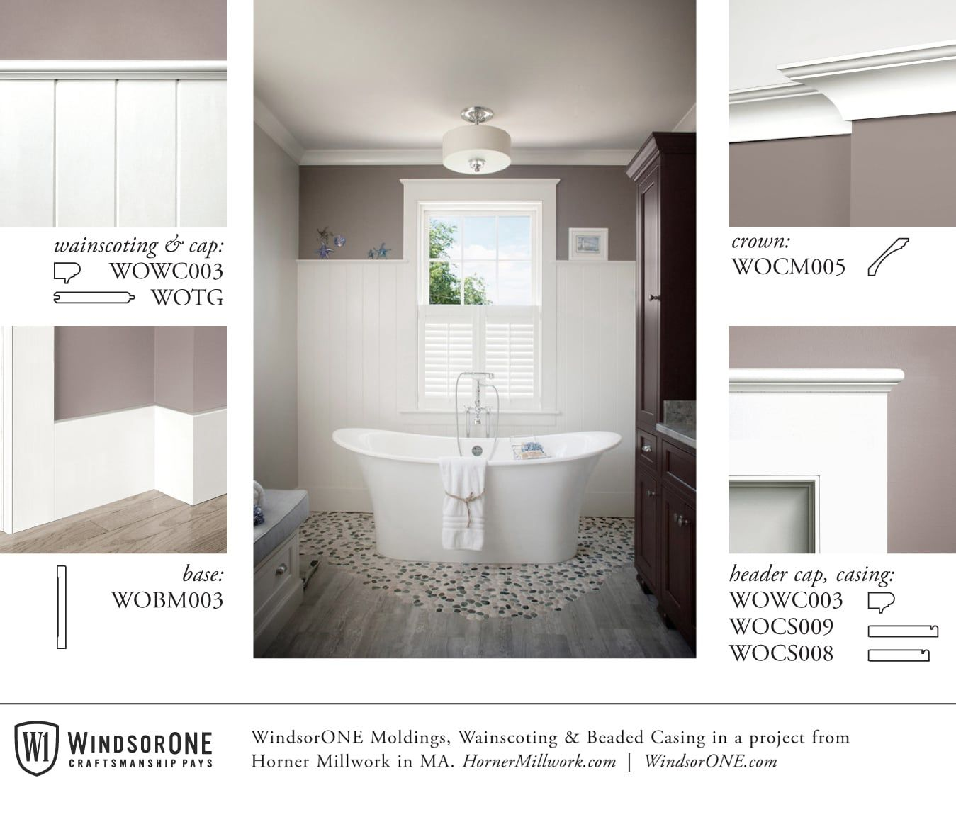High wainscoting in this craftsman bath windsorone bathroom