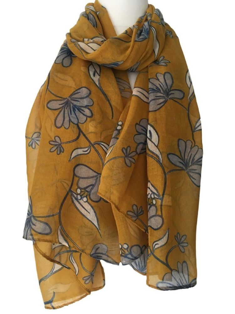 be287ea765e13 Large yellow scarf with a grey and cream floral print The scarf is long  wide and very soft Measurements approx 70 inch 175 cm in length approx 37