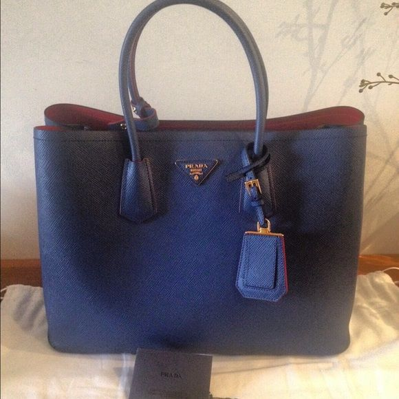 Prada saffiano cuir double tote medium blue red Text 708-374-0534 for  offers please no trades Prada Bags Totes 8a78bc815b