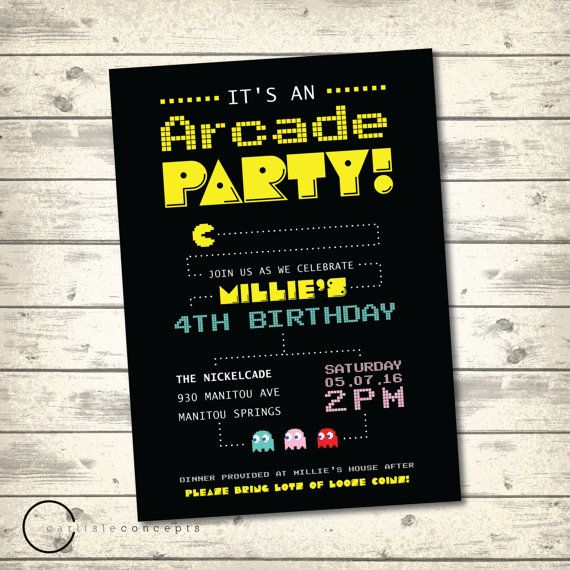 Arcade Birthday Party Invitation Pacman By Carlisleconcepts Arcade Birthday Parties Boy Birthday Invitations Birthday Party Invitations