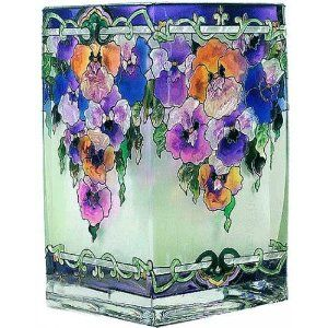 Pansy painted art glass.
