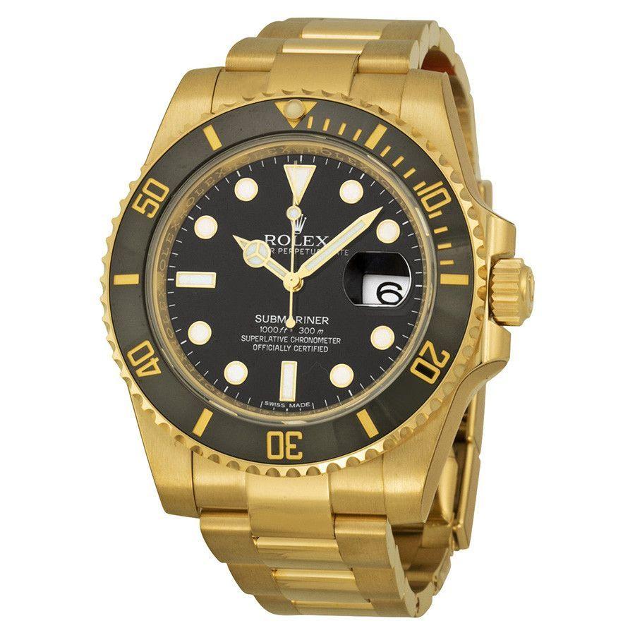 Rolex daytona submariner yellow gold black dial watch bkso