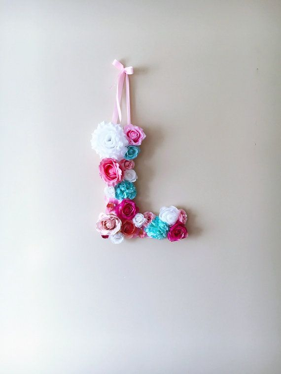 Personalized Nursery Wall Art Floral Letters Flower Letters