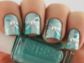 Spektor S Nails Mint Green Christmas Gift Nails With Pearls Tiffany Nails Pedicure Nails Christmas Nails