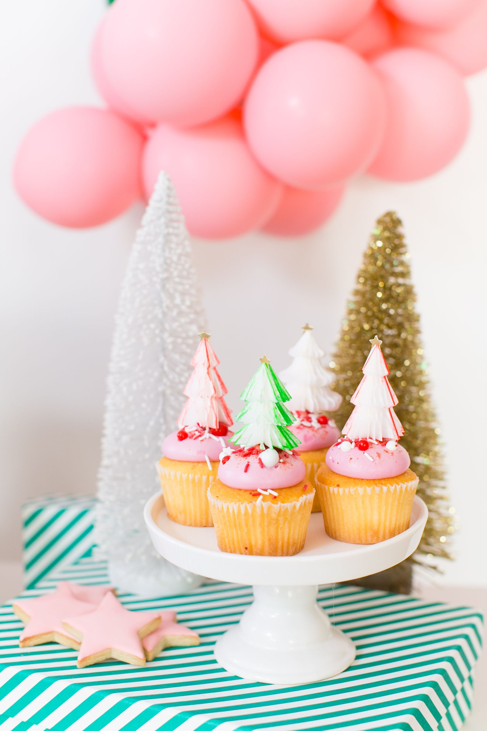 Pink Christmas Cupcakes With Honeycomb Tree Toppers Christmas