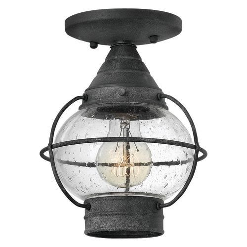 Hinkley lighting 2203 1 light semi flush outdoor ceiling fixture from the cape cod collection