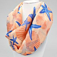 Coral Starfish Infinity Scarf - Liza Byrd Boutique