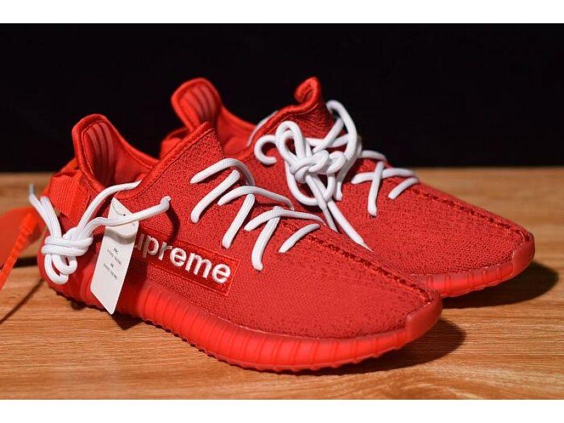Supreme X Adidas Yeezy Boost 350 V2 Redwhite F36923 For