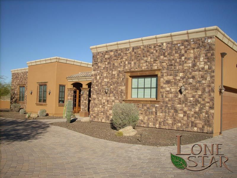 Exterior Stone Work desert blend cobblefield cultured stone on exterior house in cave