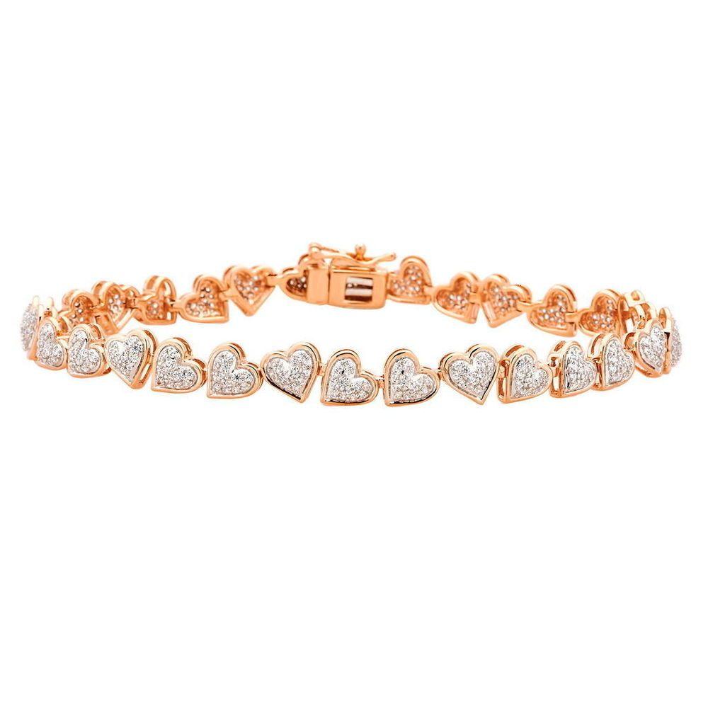 1 52 Ct 10k Rose Gold Certified Diamond Heart Bridal Tennis Bracelet Women 7 Caratsforyo Diamond Bracelet Design Swarovski Crystal Bracelet Womens Bracelets