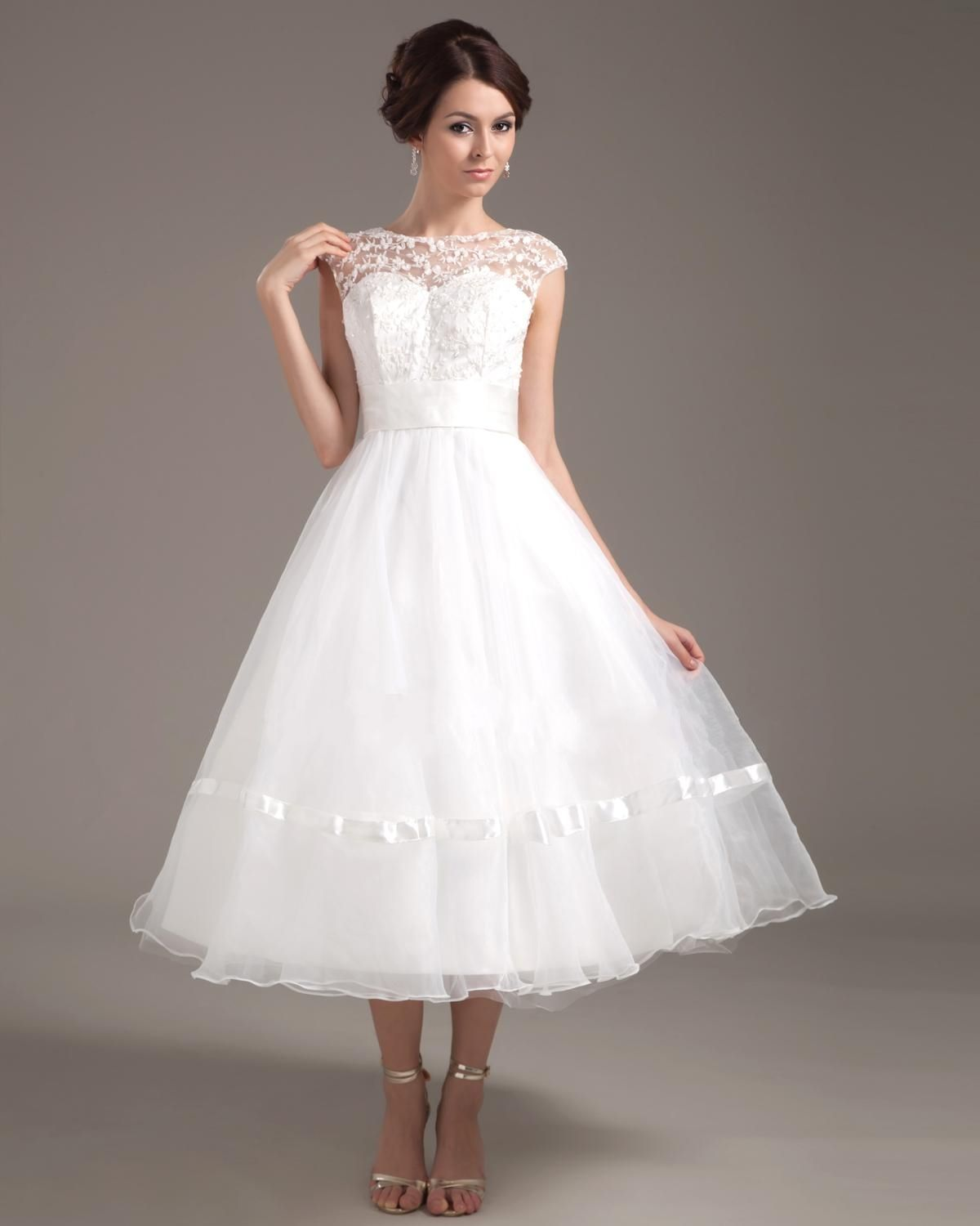 Pretty A Line Bateau Cap Sleeve Tea Length Organza Short Wedding Dress