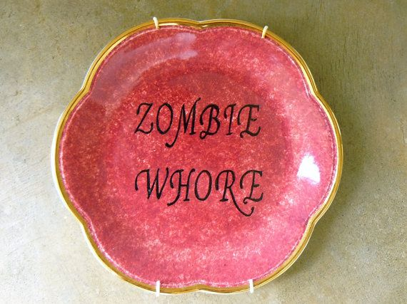 Zombie Whore hand painted retro china plate by trixiedelicious