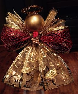 Gold Wired Ribbon Angel Ornaments