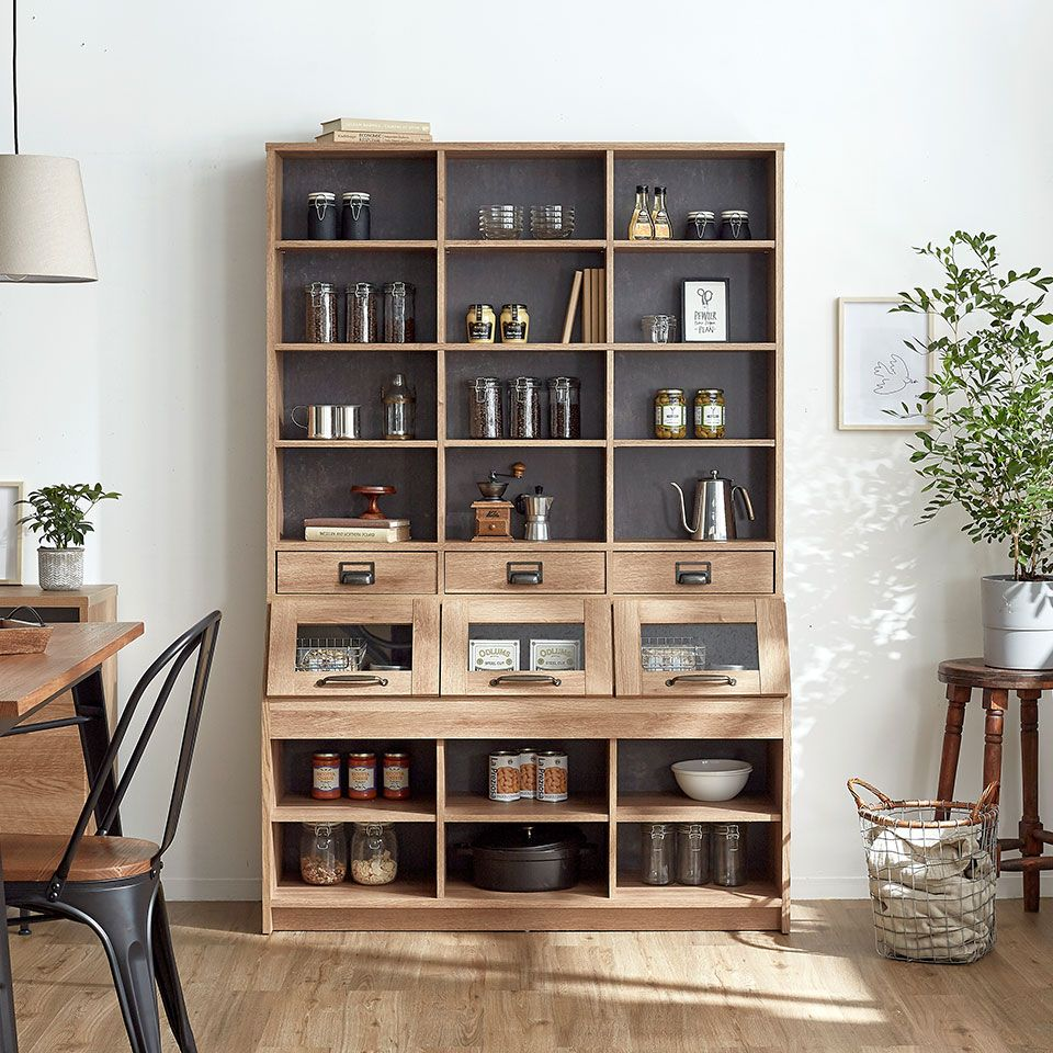 楽天市場 キッチンボード カフェ風 食器棚 上置き キッチン 収納