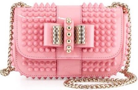 Christian Louboutin Sweet Charity Small Spiked Crossbody Bag in Light Pink