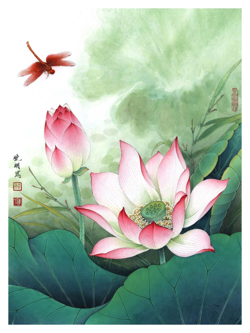 Lotus and dragonfly customize ceramic tile mural tile for Dragonfly mural