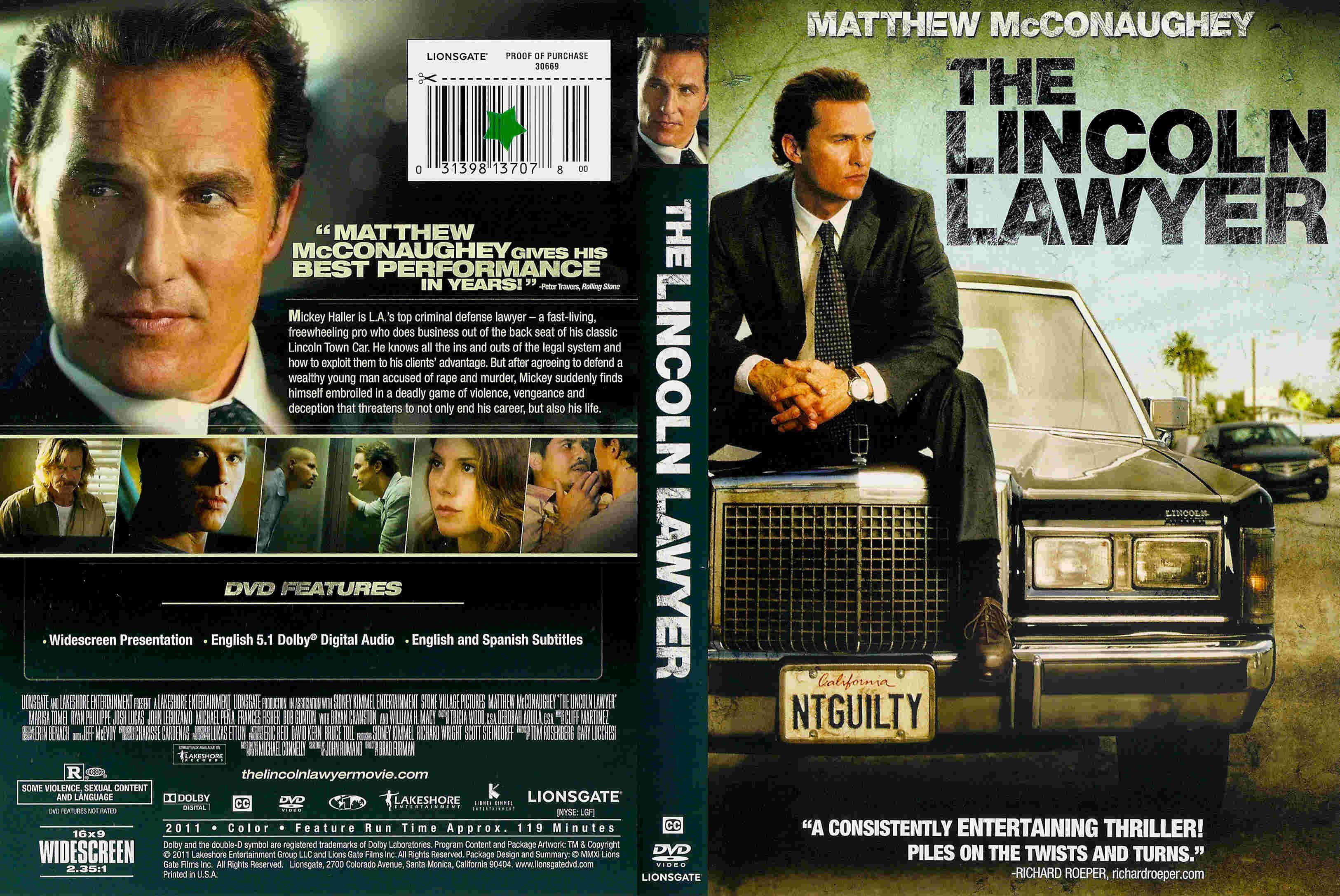 The Lincoln Lawyer Formato Dvd Dvd Peliculas Caratula