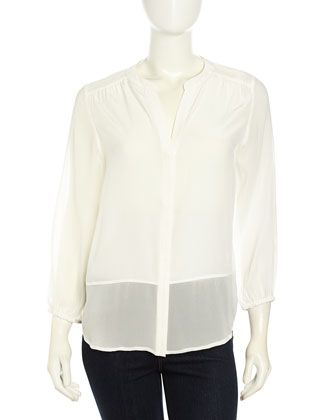 Mercina+B+Silk+Combo+Blouse,+Porcelain+by+Joie+at+Neiman+Marcus+Last+Call.