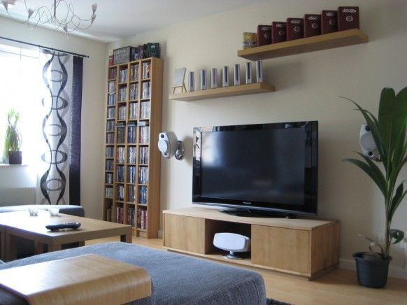 Tall Shelves A Tall Plant And Some Wall Shelves Make The Tv Look Adorable Little Living Room Design Decorating Inspiration