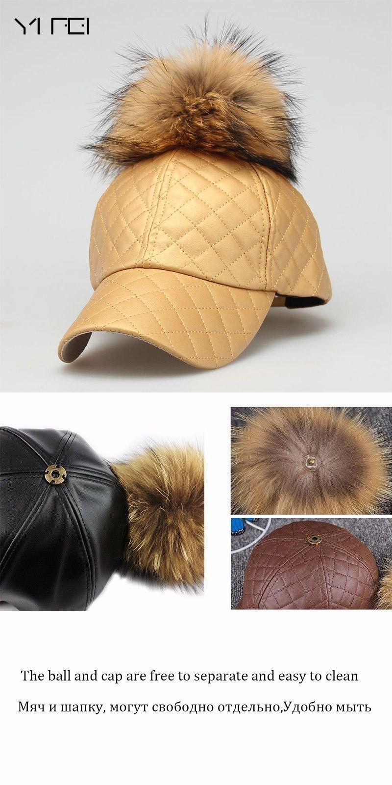 e309b314459 YIFEI 2017 NEW AUTUMN Female Warm PU Leather Baseball Cap 15CM Real Raccoon  Fur Pompoms Hats