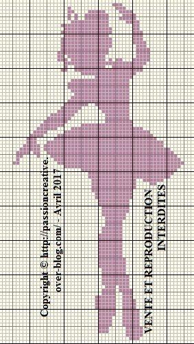 Grille gratuite point de croix : Danseuse monochrome parme 1 | Chat point croisé, Silhouette ...